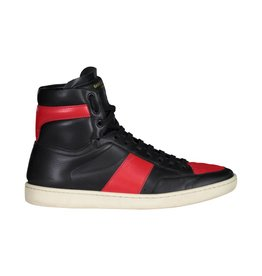 Saint Laurent Paris Saint Laurent Paris Black And Red High Top Sneakers