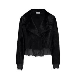 Marni Marni Black Fur Jacket With Raw Edges Silk Detailing