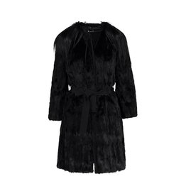Miu Miu N/A - Miu Miu Black Fur Coat with Goat Fur Collar