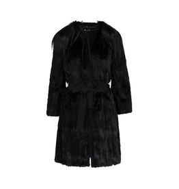 Miu Miu NON DISPONIBLE - Miu Miu manteau noir en fourrure et col en fourrure de chèvre