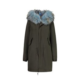 Mr. & Mrs. Italy N/A - Mr. & Mrs. Italy Khaki Parka With Blue Fur Lining