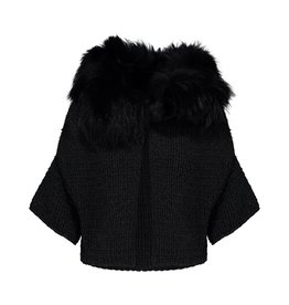 Prada Prada Charcoal Knit Vest with Black Fur