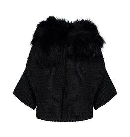 Prada Prada veste en tricot couleur charbon et col de fourrure noire