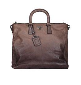 Prada N/A - Prada Large Glace Calf Bauletto Piettra Handle Bag