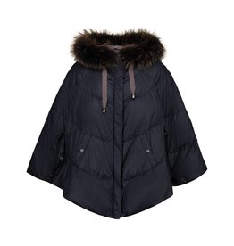 Brunello Cucinelli N/A - Brunello Cucinelli Blue Puffer Cape with Fur Collar