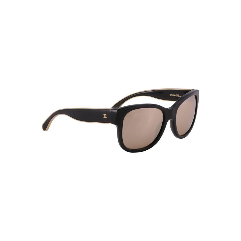 Chanel NON DISPONIBLE - Chanel lunettes de soleil Wayfearer noires effet miroir