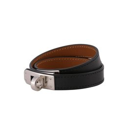 Hermès Hermès Black Leather Double Tour Kelly Bracelet