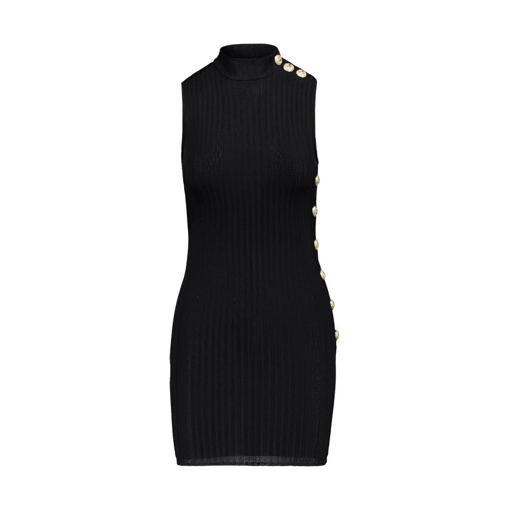 Balmain Balmain Black Rib-Knit Sleeveless Mockneck Gold Buttons Dress