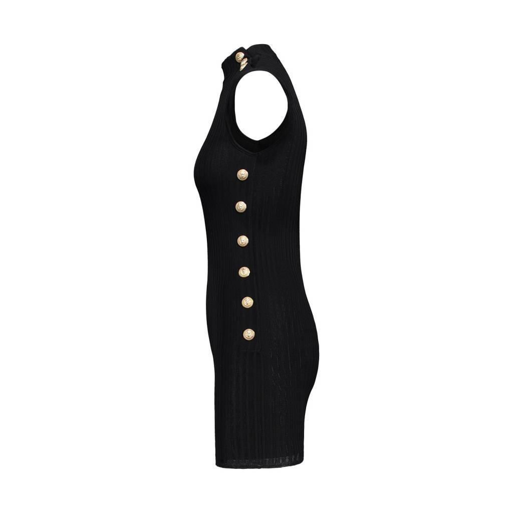 Balmain N/A - Balmain Black Rib-Knit Sleeveless Mockneck Gold Buttons Dress