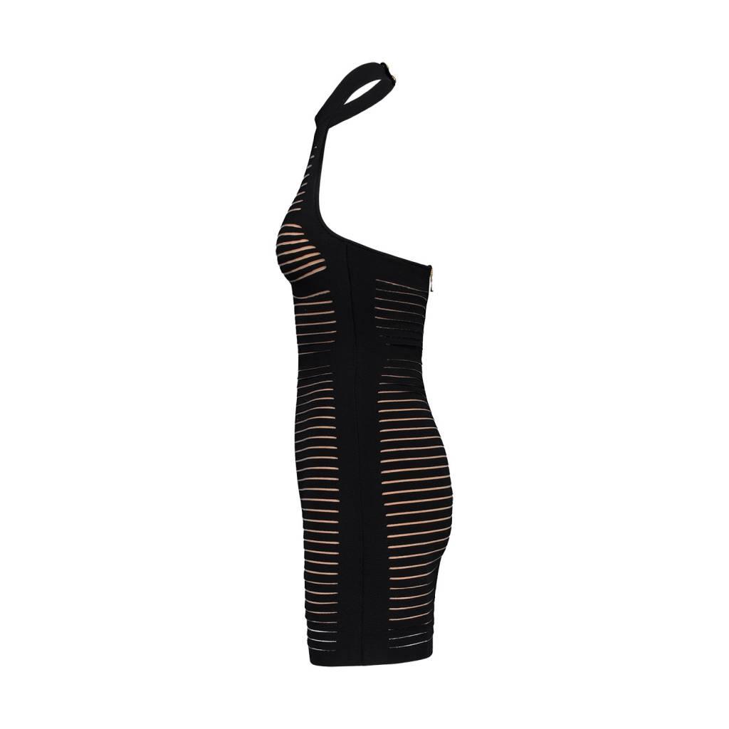 Balmain NON DISPONIBLE - Balmain robe licou noire bandage