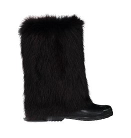 Marni Marni Black Welling Rainboots with Fur Cover