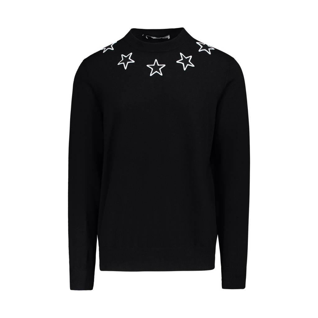 Givenchy N/A - Givenchy Black Crewneck Sweater with Stars Appliqués