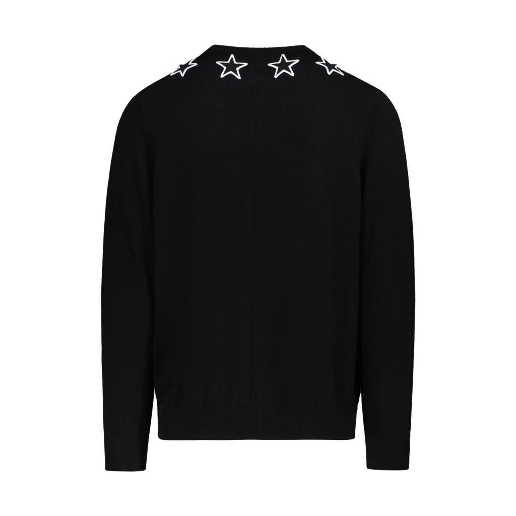 Givenchy NON DISPONIBLE - Givenchy pull noir en laine avec appliqué d'étoiles