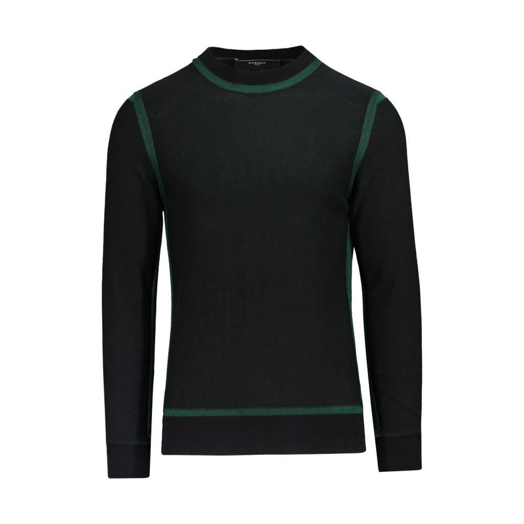 05e6f5a0457 Givenchy NON DISPONIBLE - Givenchy pull en laine noir avec détails bordures  vertes ...
