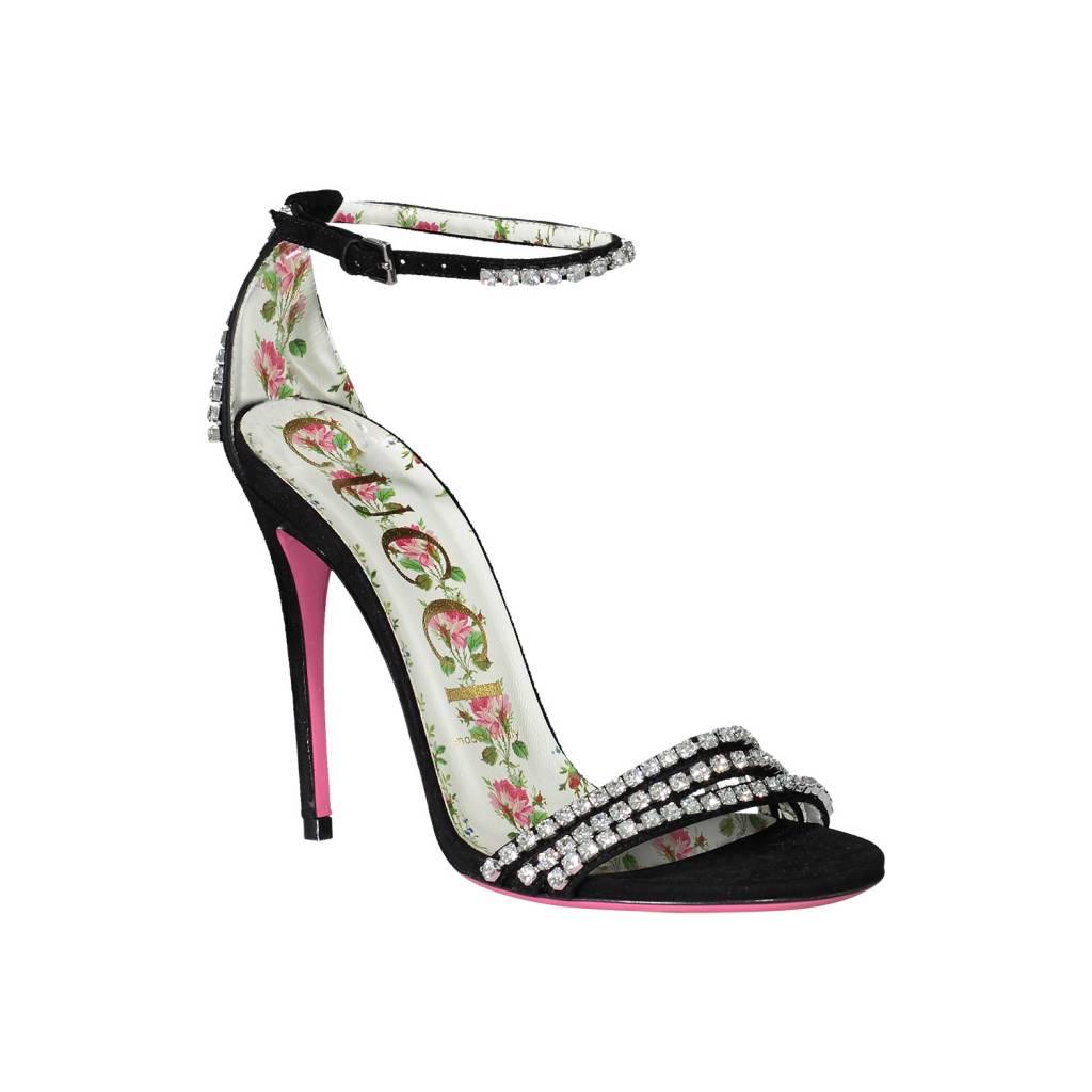 Gucci NON DISPONIBLE - Gucci sandale noire en suède et cristaux