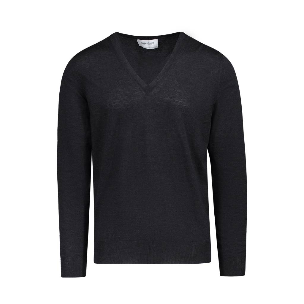 Yves Saint-Laurent Yves Saint-Laurent Charcoal V-Neck Wool Sweater