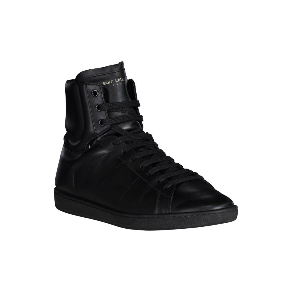 Saint Laurent Paris N/A - Saint Laurent Paris Black Leather Signature Court High-top Sneakers
