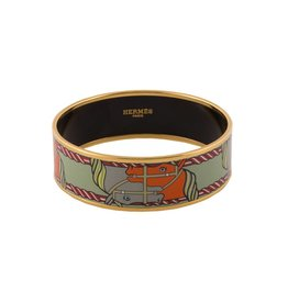 "Hermès Hermès Light Green Horse ""Quadrige"" Enamel Bangle"