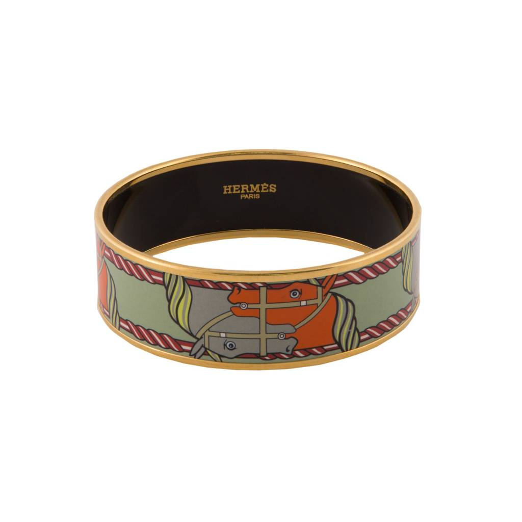 "Hermès Hermès bracelet en émail vert Cheval ""Quadrige"""