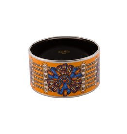 "Hermès N/A - Hermès Orange ""Rubans"" Wide Enamel Bangle"