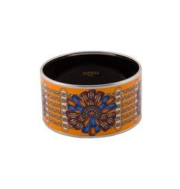 """Hermès NON DISPONIBLE - Hermès bracelet large en émail orange """"Rubans"""""""