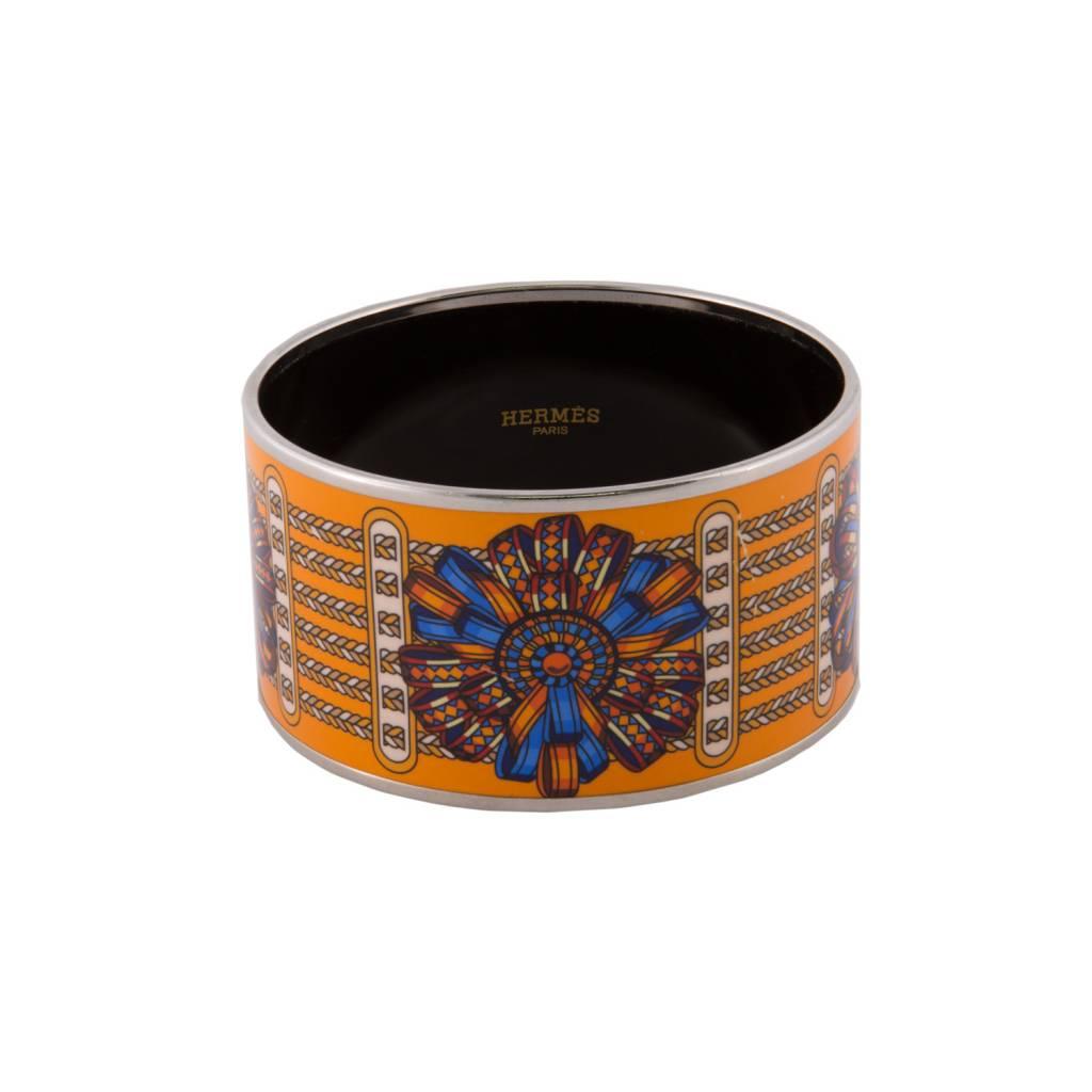 """Hermès Hermès Orange """"Rubans"""" Wide Enamel Bangle"""