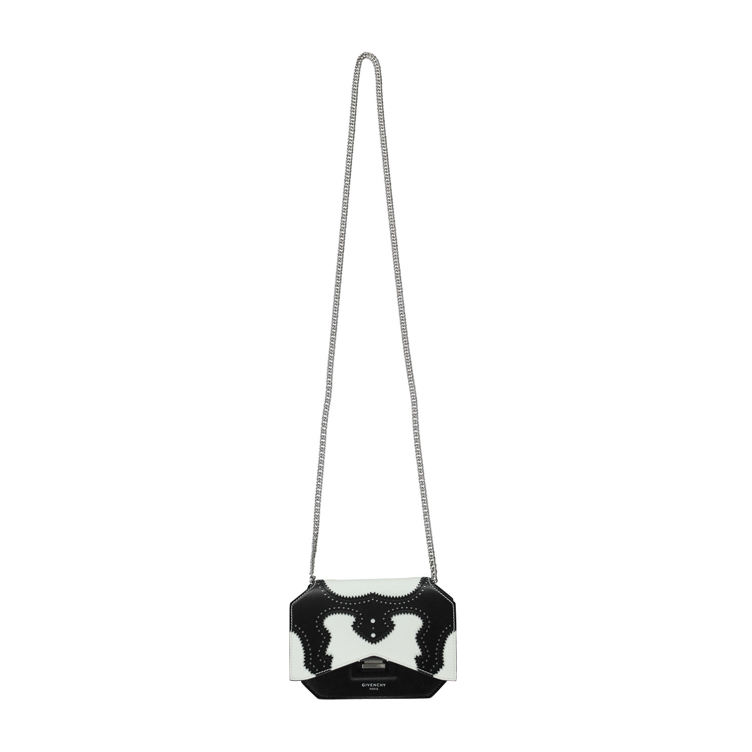 Givenchy Givenchy Black and White Oxford Detail Bow Cut Chain Bag