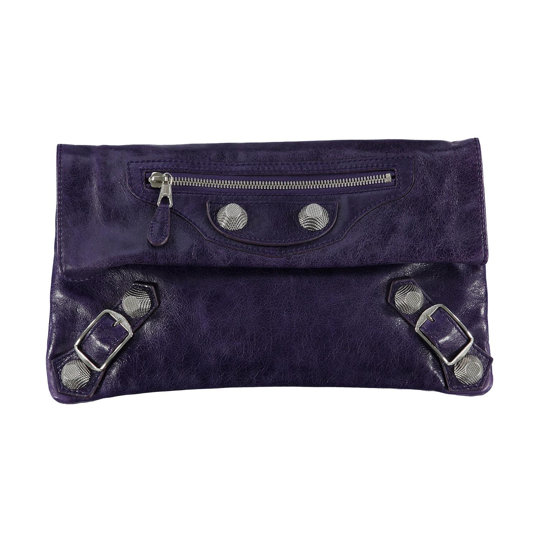 Balenciaga N/A - Balenciaga Purple Leather Giant Envelope Pouch