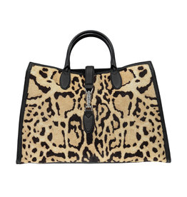 Gucci N/A - Gucci Jackie Calf Hair Leopard Large Tote