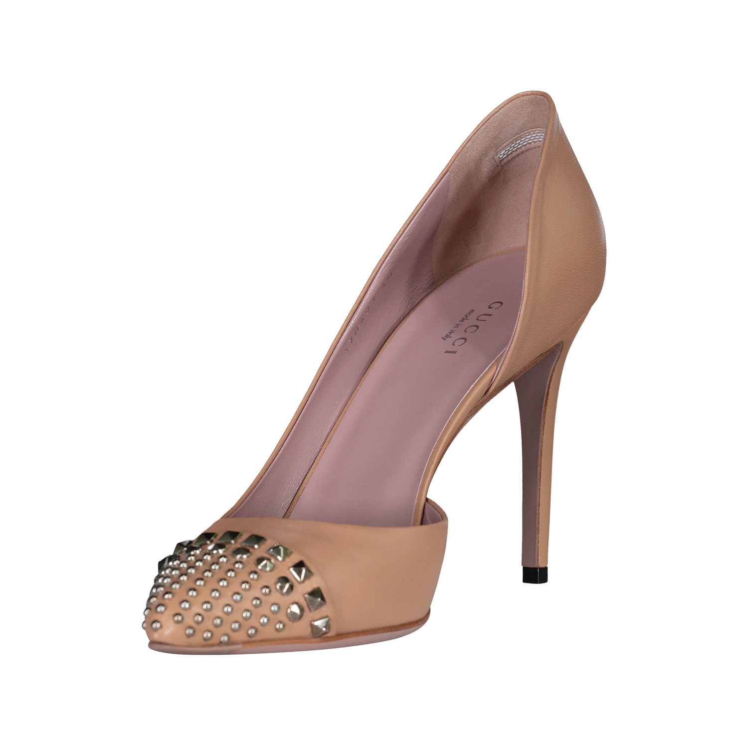 Gucci N/A - Gucci Nude Leather Studded Malaga Kid D'Orsay Pumps