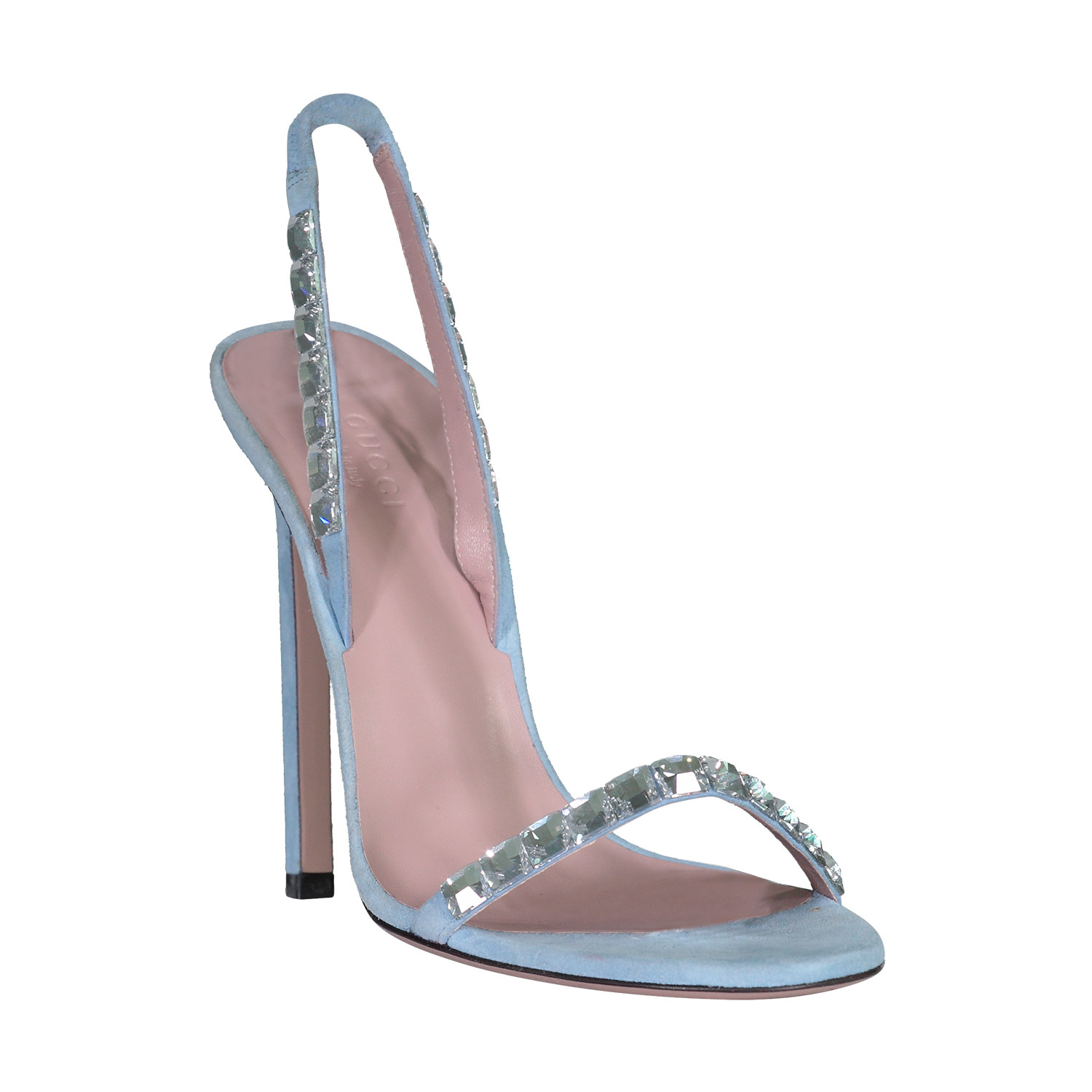 Gucci Gucci Baby Blue Suede Crystal Mallory Heeled Sandals