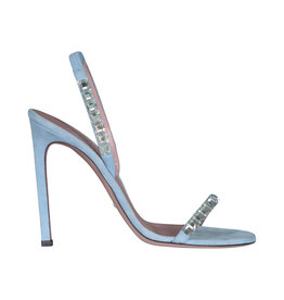 Gucci N/A - Gucci Baby Blue Suede Crystal Mallory Heeled Sandals