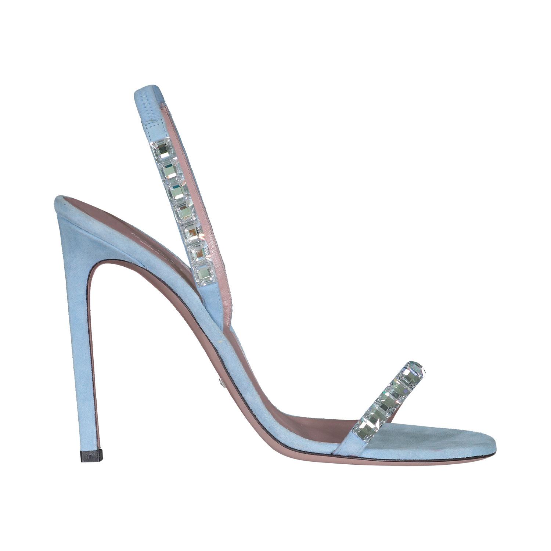 Gucci NON DISPONIBLE - Gucci sandales à talons hauts Mallory en suède bleu et cristaux