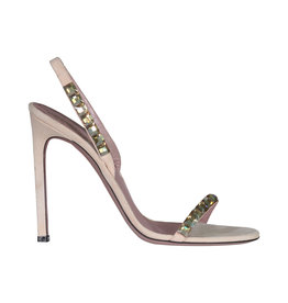 Gucci Gucci Light Pink Suede Mallory Crystal Heeled Sandals
