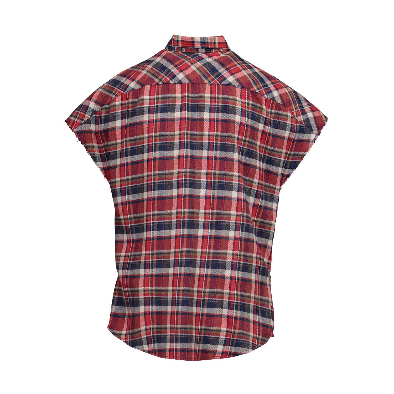 Fear of God N/A - Fear of God Red Checked Cutoff Sleeve Shirt