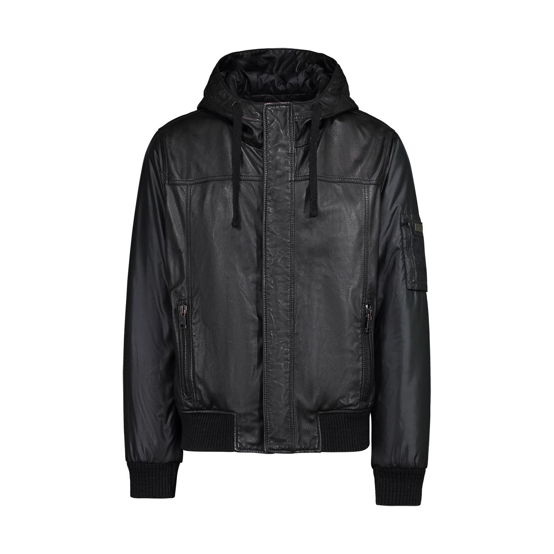 6e8a01510d71 Dolce   Gabbana Dolce   Gabbana veste à capuche en cuir noir avec manches  ...