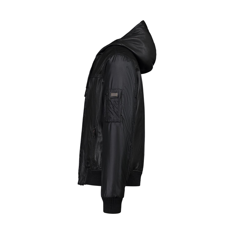 Dolce & Gabbana Dolce & Gabbana Black Leather Hoodie Jacket with Nylon Sleeves