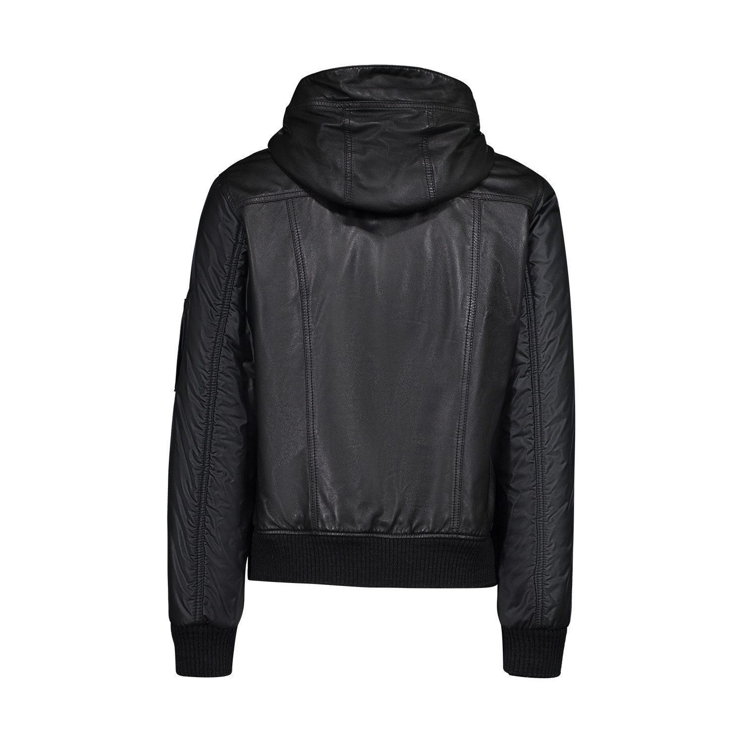 Dolce & Gabbana Dolce & Gabbana Black Leather Hoodie Jacket with Nylon Sleeves