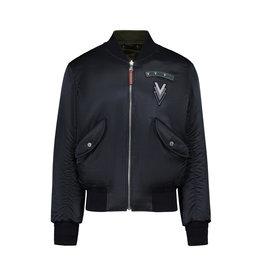 """Louis Vuitton Louis Vuitton blouson aviateur réversible MB-1 """"Volez Voguez Voyagez"""" bleu marin en satin"""