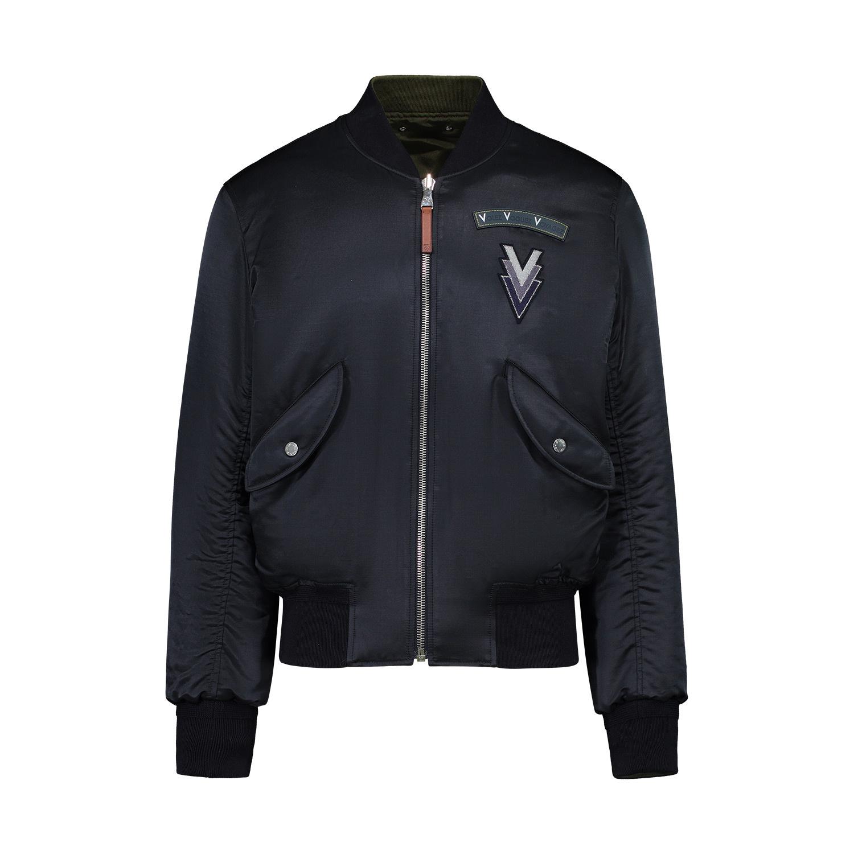 """Louis Vuitton Louis Vuitton Navy Satin MB-1 """"Volez Voguez Voyagez"""" Reversible Bomber Jacket"""