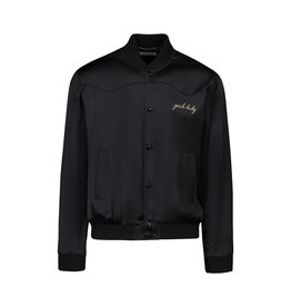 "Saint Laurent Paris N/A - Saint Laurent Paris Black Satin ""Yeah Baby"" Bomber Jacket"