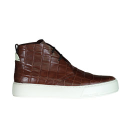 "Louis Vuitton Louis Vuitton baskets montantes ""Desert"" embossé croco de couleur marron"