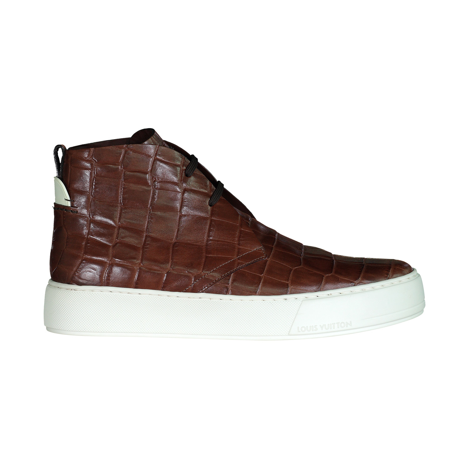 Louis Vuitton Louis Vuitton Brown Croc Embossed Desert High-top Sneakers