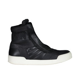 Balmain N/A - Balmain Black Leather Logo High-top Sneakers