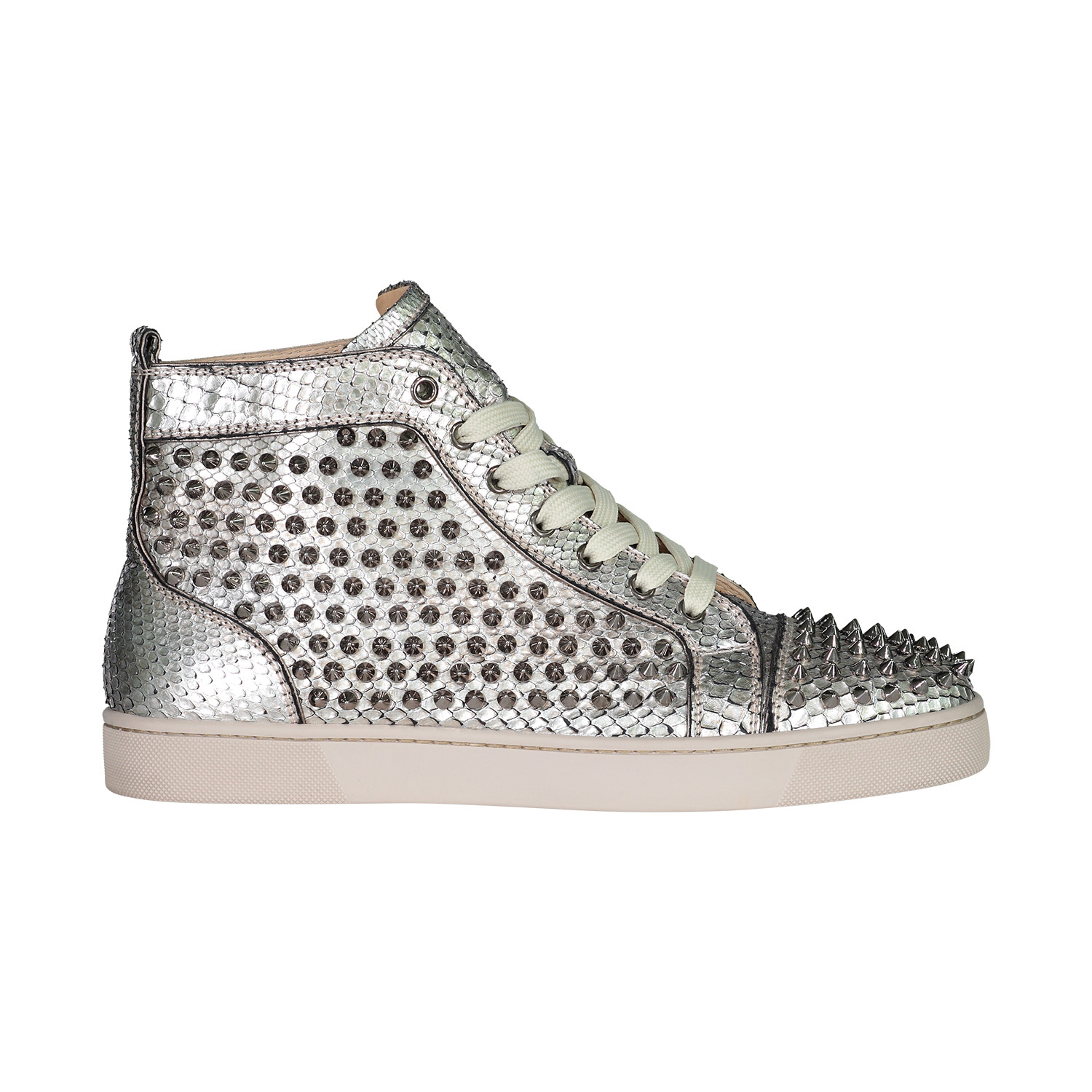 sports shoes a6353 e27f0 Christian Louboutin Christian Louboutin Silver Spike Python Louis Orlato  Sneakers