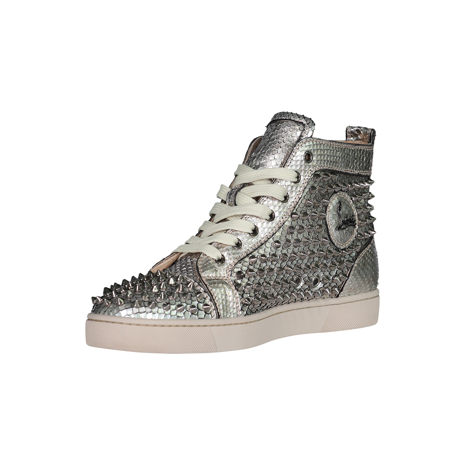 info for b1295 f7158 Christian Louboutin Silver Spike Python Louis Orlato Sneakers