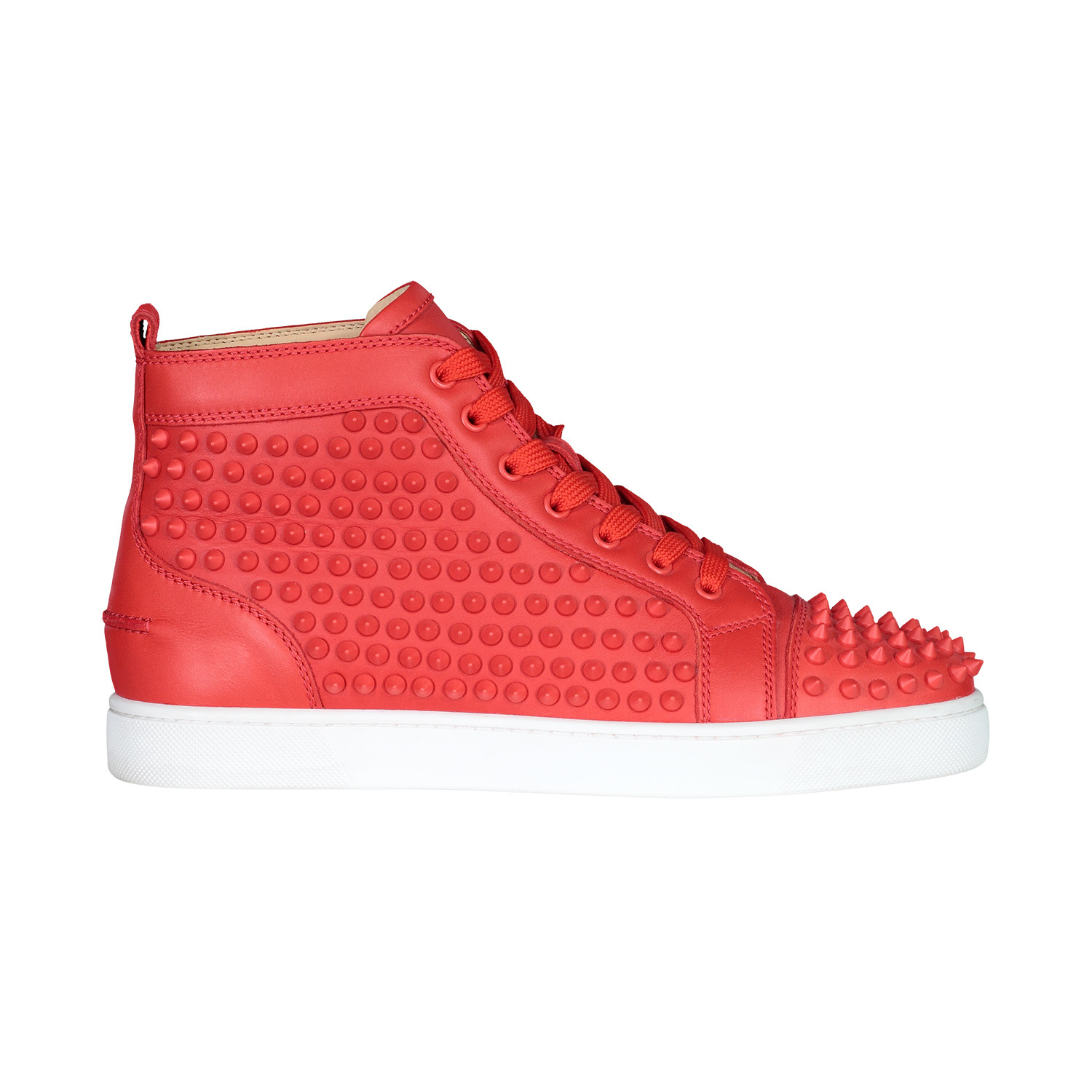 Christian Louboutin N/A - Christian Louboutin Red Spike Leather Louis Flats Sneakers
