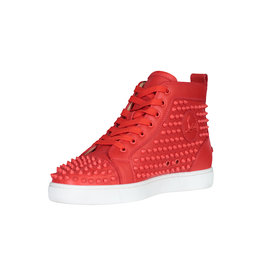Christian Louboutin NON DISPONIBLE - Christian Louboutin baskets montantes Louis Spike en cuir rouge