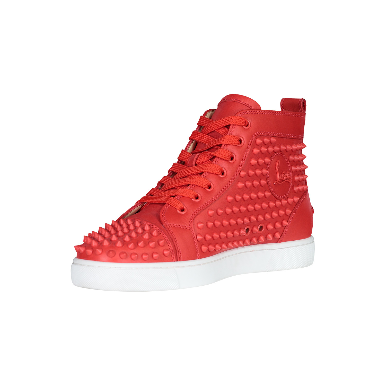 Christian Louboutin Red Spike Leather Louis Flats Sneakers