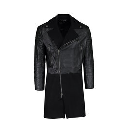 Versace N/A - Versace Black Lambskin and Wool Long Coat